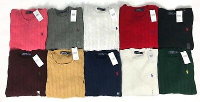 Polo Ralph Lauren Mens New Genuine Crew Neck Roving Cable Knit Jumpers All Sizes
