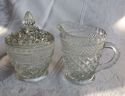 Anchor Hocking Wexford Footed Cream Pitcher And Covered Sugar Bowl Set Clear