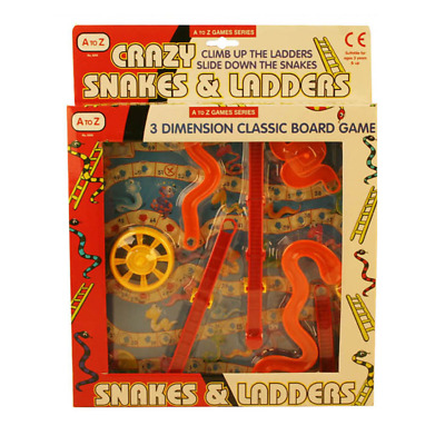 3D Snakes And Ladders Kids Childrens Board Game Traditional Family Toy