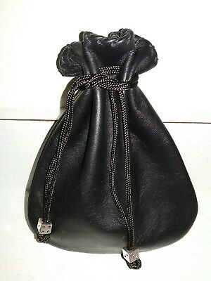 New Handmade Black Genuine Leather Drawstring Pouch Dice Bag with Dice Beads