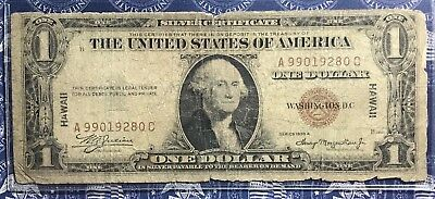 1935-A Hawaii $1 Bill Old Us Paper Money Currency Red Seal Collector Note.9280G
