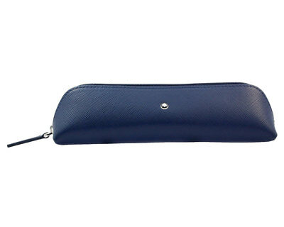 Montblanc Sartorial Two Pen Zip Top Indigo Leather Pouch 116306