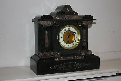 Antique French Black Slate And Marble Architectural Mantel Clock Gwo 1860