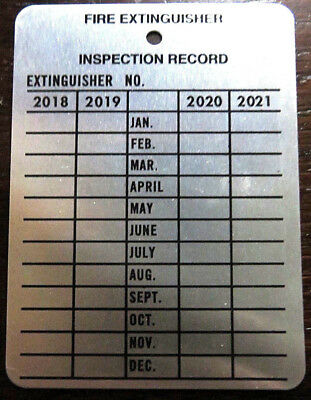 """4 Year Metal Fire Extinguisher Inspection Record Tags, 3"""" x 2.25"""" 2018-2021"""