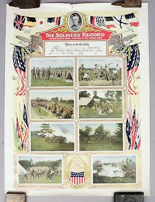 Estate Found 1917 United States Army World War I Soldier's Record Poster