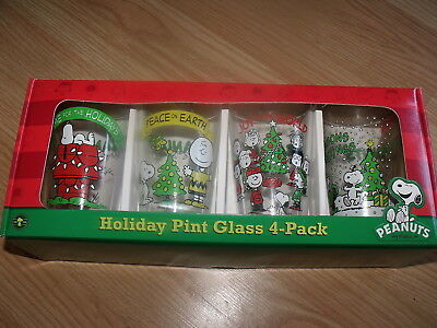 Peanuts Gang Holiday 4-Pack Pint Glass Set HOME For The HOLIDAYS/PEACE On Earth+