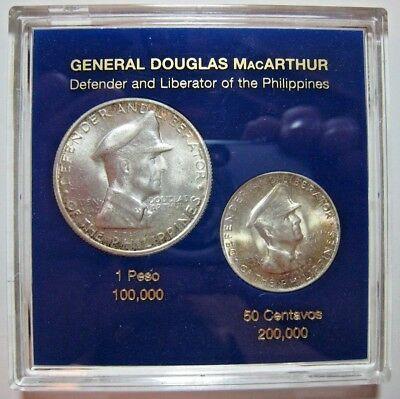1947 S Philippines Silver 50 C. & 1 Peso MacArthur Coins** FREE U.S. SHIPPING **