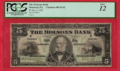1912 $5 Canada Molsons Bank Chartered Note - Very Popular - PCGS F-12