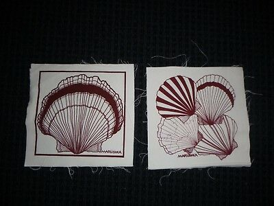 Pr Vtg 70s Marushka Textile Wall Hanging Screenprint Art Sea Shells unframed