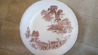 vintage swinnertons plate the ferry 13 inches.brown