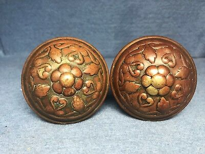 Antique Victorian Eastlake Ornate Brass / Bronze Door Knob Set