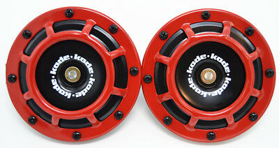 A Pair Red Universal 12V 5 Compact Super Tone Loud Blast Grill Mount Hella Horn