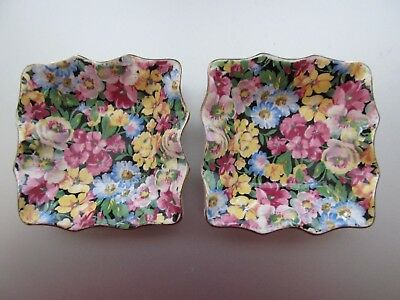 Two Vintage James Kent Florita 5008 Floral Chintz Individual Nut Candy Dishes