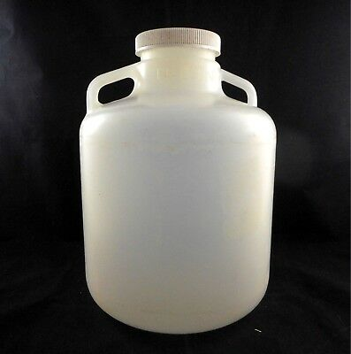 NALGENE Plastic 10L LDPE Wide Mouth Carboy w/ Handles Size 100 Closure 2234-0020