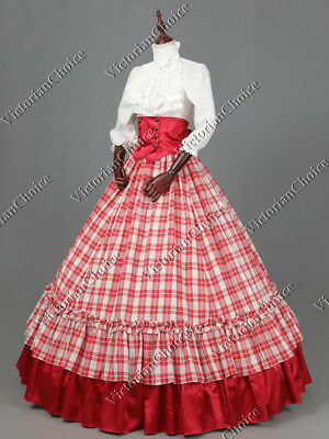 Civil War Victorian Christmas Plaid 3PC Ball Gown Reenactment Dress K001 XL