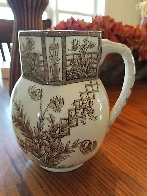 "Vintage Brown Transferware G W Turner & Sons Tunstall 6 1/2"" Tall"
