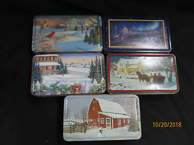 Lot of 5, PIONEER Seed Corn Metal Employee Gift Tin Pioneer Sign on Each one