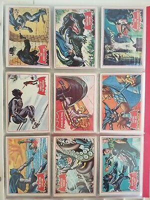 Complete Set of 44 Red 1966 Topps Batman Trading Cards Adam West vintage