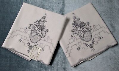 Antique Madeira Embroidery Linen Pillow Case Pair Never Used w/ Label Lot #2