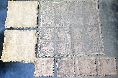 Net Lace 23 Pc Table Set Mythological Gods Hand Crocheted Trim Unusual Find!
