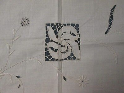 Pair Antique Linen Pillow Lay Over Covers Embroidery Cutwork Italian Styling