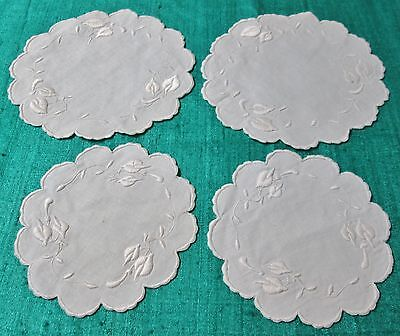 Antique 4 Round Doilies Embroidered Bleeding Heart Florals Scalloped Edges
