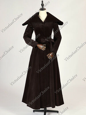 Victorian Choice Chocolate Velvet Winter Trench Coat Theater Steampunk C043 M