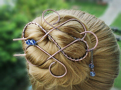 Celtic Large Antique Boho Crystal Hair Clip Hair Fork Large Hair Pin Bun Holder