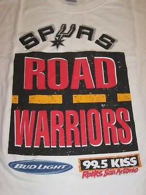 Rare San Antonio Spurs-99.5 Kiss Radio Road Warriors White T Shirt Sz Xl Vgc
