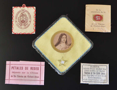 Lot of 5 Different ST. THERESE VINTAGE & ANTIQUE POCKET Relics ST RELIC NR
