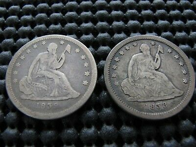 1838 and 1839 Seated Quarters