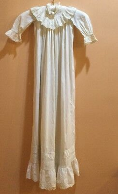 """Victorian Christening Gown- Ruffle at Neck / Lace /Tucking 42"""""""