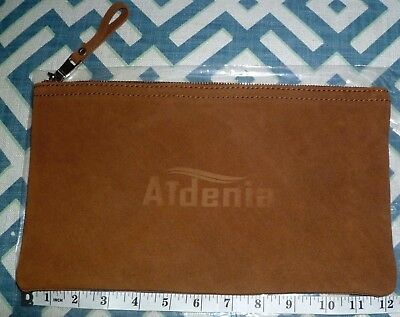 """New Aidenia 12 1/4"""" X 7"""" Brown Leather Zip Zippered Tool Utensil Pouch Bag Case"""
