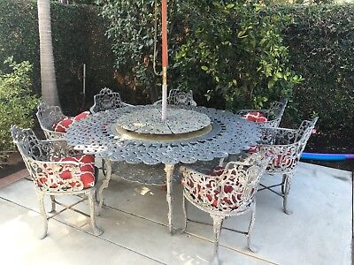 Vintage Wrought Aluminum Patio Table and Chairs