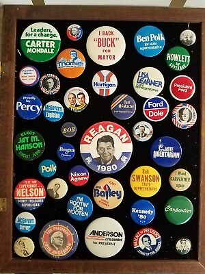 39 Vintage 1980 President Political Campaign Pinback Buttons Reagan Nixon Carter