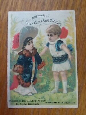 1800's VICTORIAN TRADE CARD, Button's Raven Gloss Shoe Dressing New York