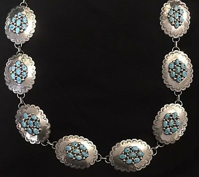 """Vintage Turquoise Sterling Silver Navajo Concho Belt Signed TOMMY MOORE 40"""" Long"""