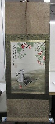Chinese Scroll Watercolor Mounted To Silk Of 2 Field Mice W/ Red Berries