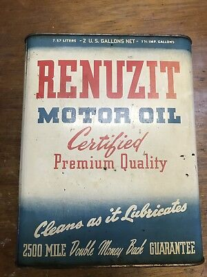 Vintage RENUZIT PA ADVERTISING LUBRICATION 2 Gallon Oil Can Gasoline Bucket