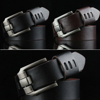 Men's Fashion Vintage Genuine Leather Wide Belts Leather Belt Accessories