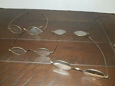 Antique wire rim eyeglasses lot damaged.  For parts  Steam Punk