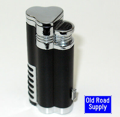 Old Road Pop3 Black Triple Blue Jet Torch Lighter Cigar Retractible Punch Cutter