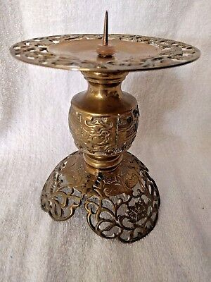 "Vintage Ornate Brass Candle Holder 6 1/8"" High Heavy Home Lighting Decor"