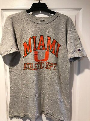 Vintage Rare 80's CHAMPION Miami Hurricane Gray T Shirt Cotton Rayon Blend Large