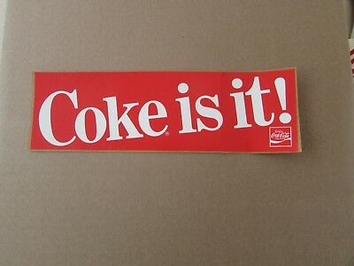 Vintage New-Old-Stock COCA-COLA  decal - COKE IS IT! - approx  9.5 x3 inch