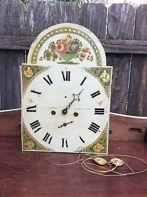 Tall Case Clock Movement & Floral Dial, Parts / Repairs