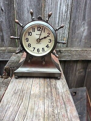 Antique Rim Wind Waterbury 8 day  Ships Wheel Style Desk Clock , Running