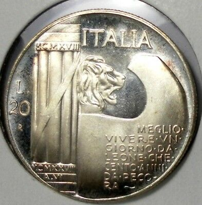 1943 Italy 20 lire Mussolini Fantasy Medal Uncirculated