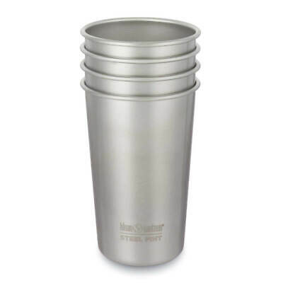 Klean Kanteen Single Wall Stainless Steel Pint Cup, 4 Pack, Brushed Stainless