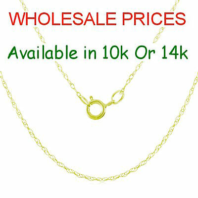 1mm Singapore Rope Chain SOLID Genuine 10k Or 14k Yellow Gold Necklace WHOLESALE